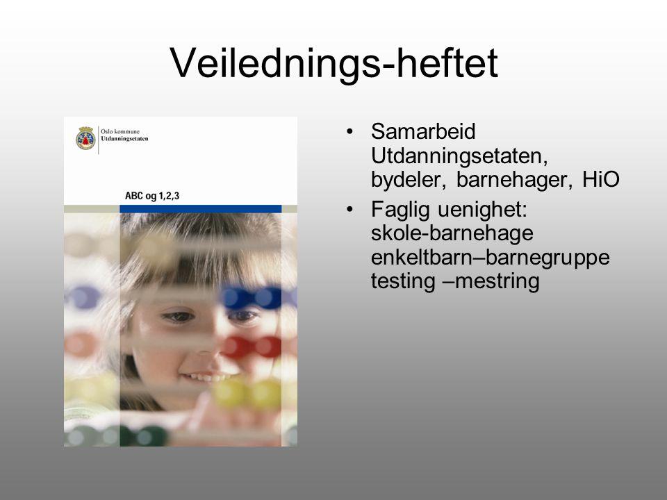 Veilednings-heftet Samarbeid Utdanningsetaten, bydeler, barnehager, HiO. Faglig uenighet: skole-barnehage enkeltbarn–barnegruppe testing –mestring.