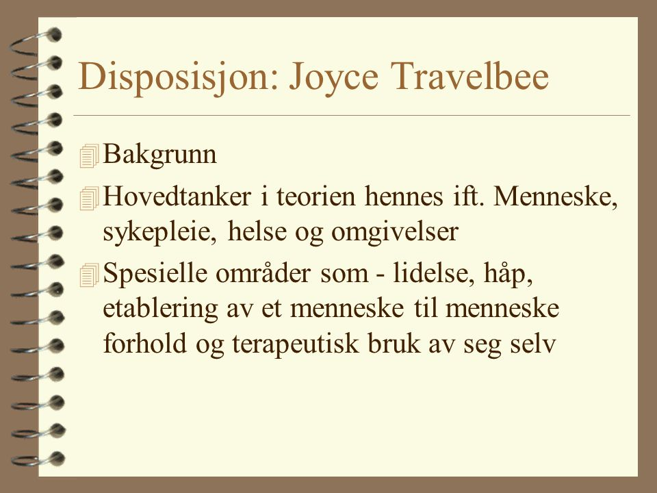 Disposisjon: Joyce Travelbee