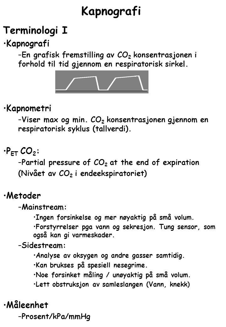 Kapnografi Terminologi I Kapnografi Kapnometri PET CO2: Metoder