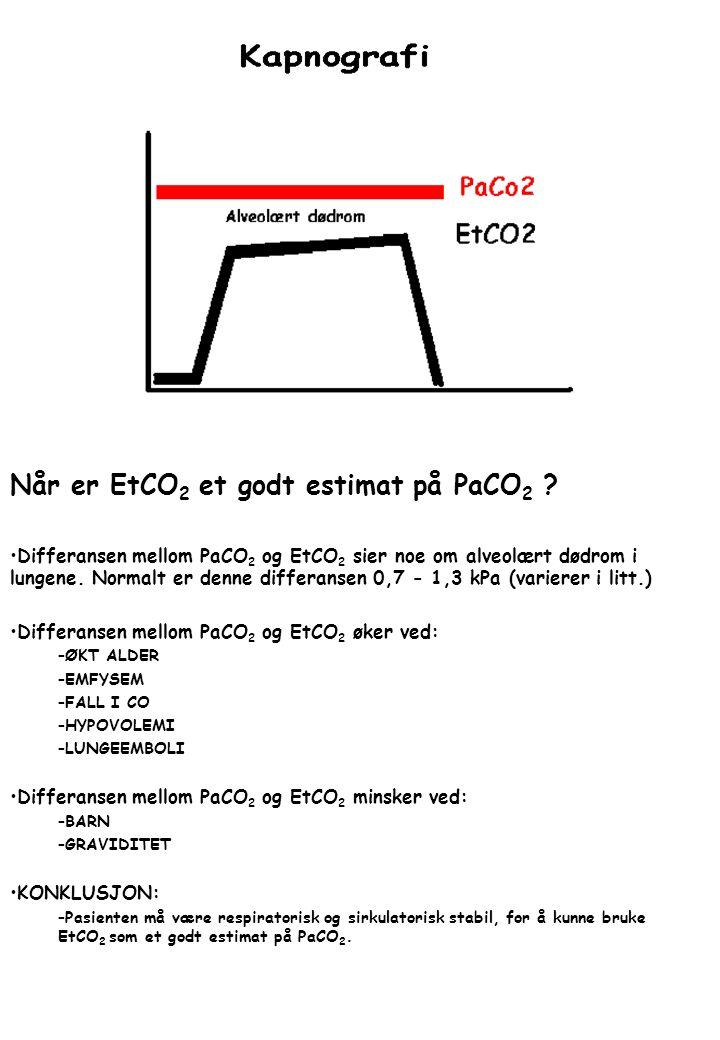 Når er EtCO2 et godt estimat på PaCO2