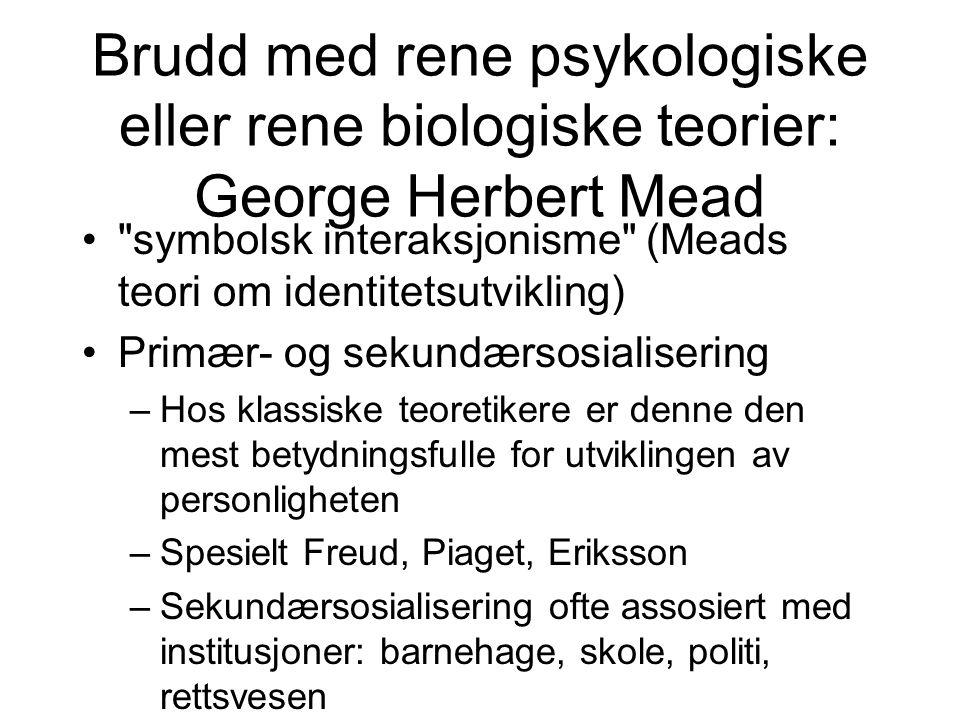 Brudd med rene psykologiske eller rene biologiske teorier: George Herbert Mead