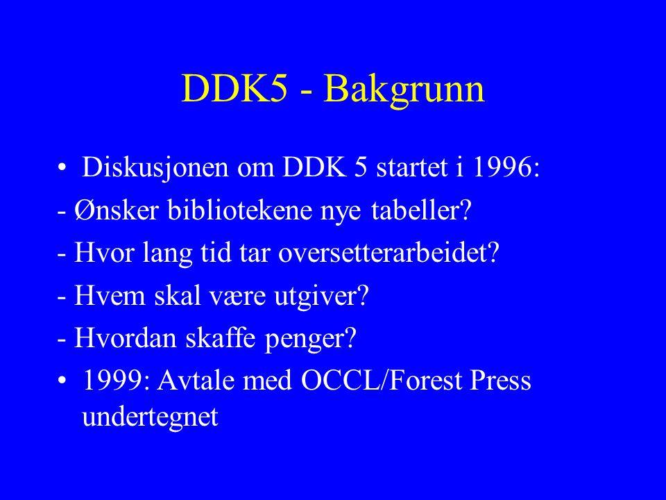 DDK5 - Bakgrunn Diskusjonen om DDK 5 startet i 1996: