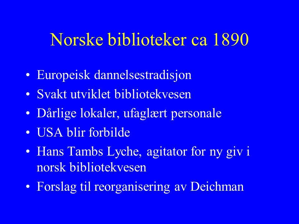 Norske biblioteker ca 1890 Europeisk dannelsestradisjon