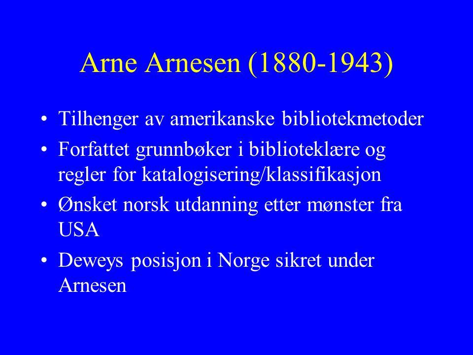Arne Arnesen (1880-1943) Tilhenger av amerikanske bibliotekmetoder