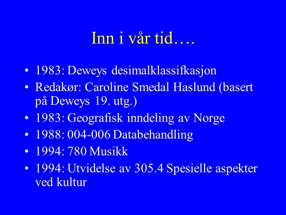 Inn i vår tid…. 1983: Deweys desimalklassifkasjon