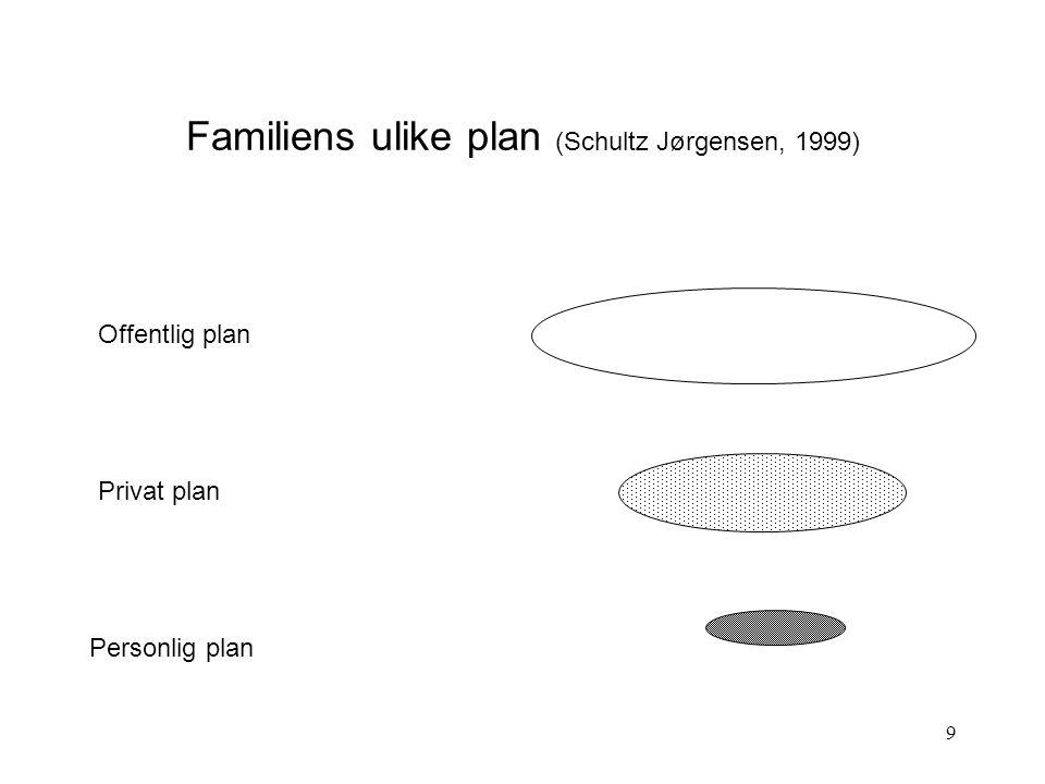 Familiens ulike plan (Schultz Jørgensen, 1999)