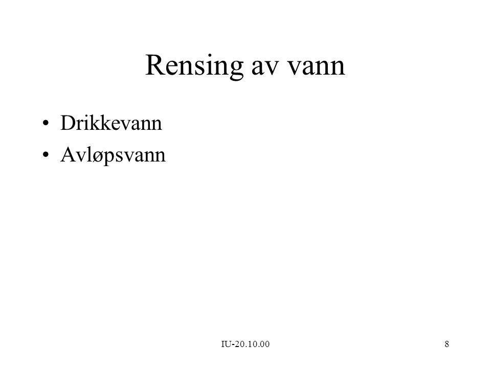 Rensing av vann Drikkevann Avløpsvann IU-20.10.00
