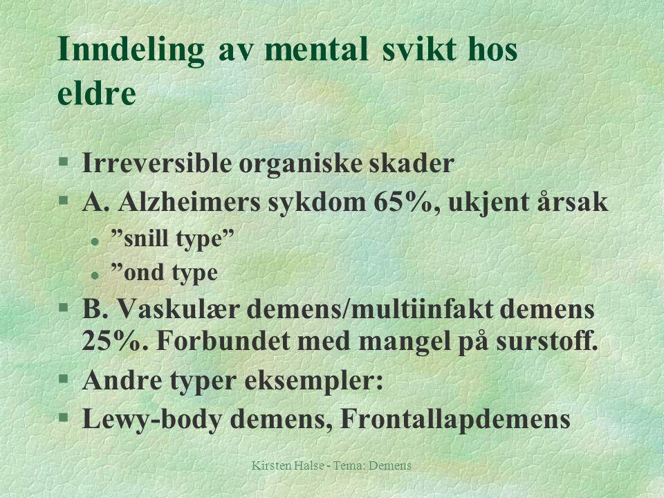 Inndeling av mental svikt hos eldre