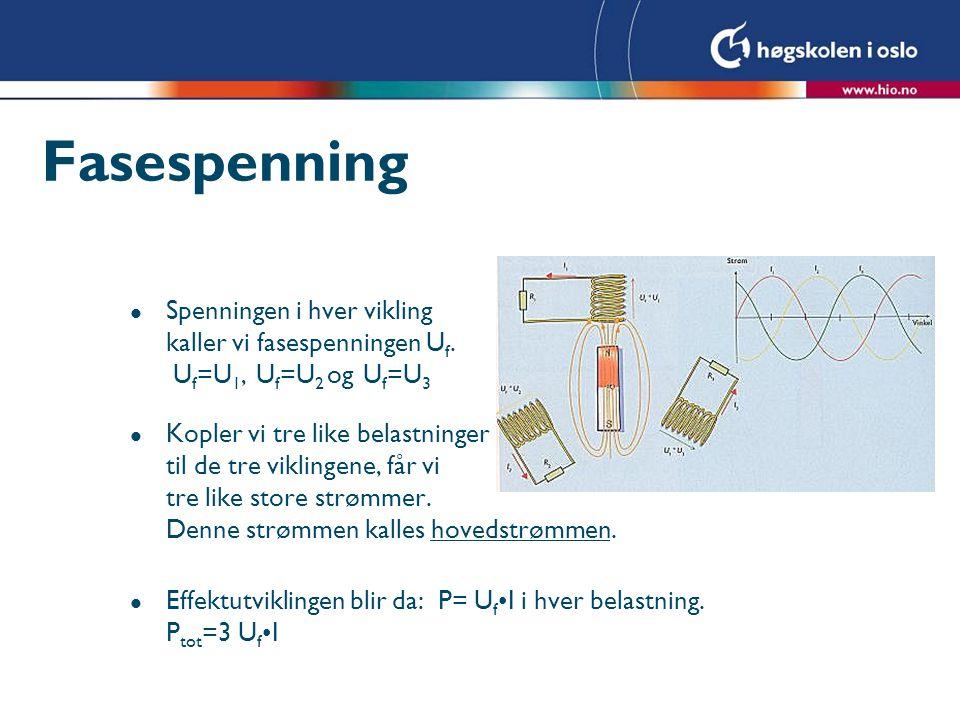 Fasespenning Spenningen i hver vikling kaller vi fasespenningen Uf. Uf=U1, Uf=U2 og Uf=U3.