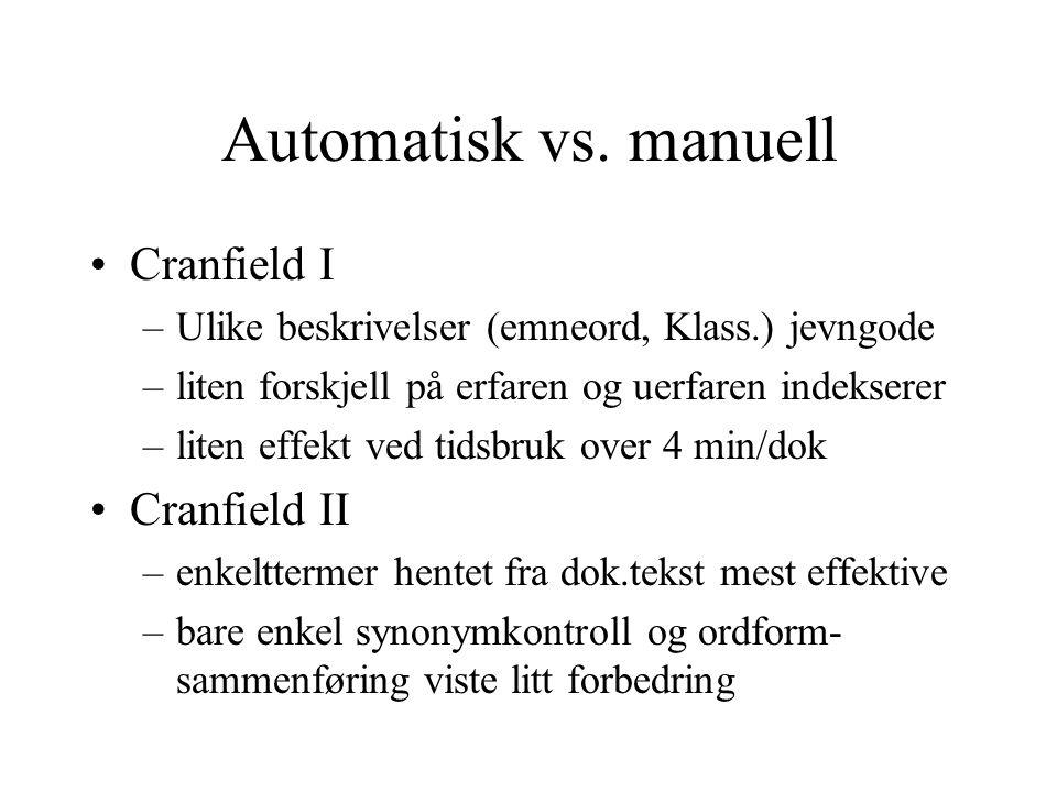 Automatisk vs. manuell Cranfield I Cranfield II