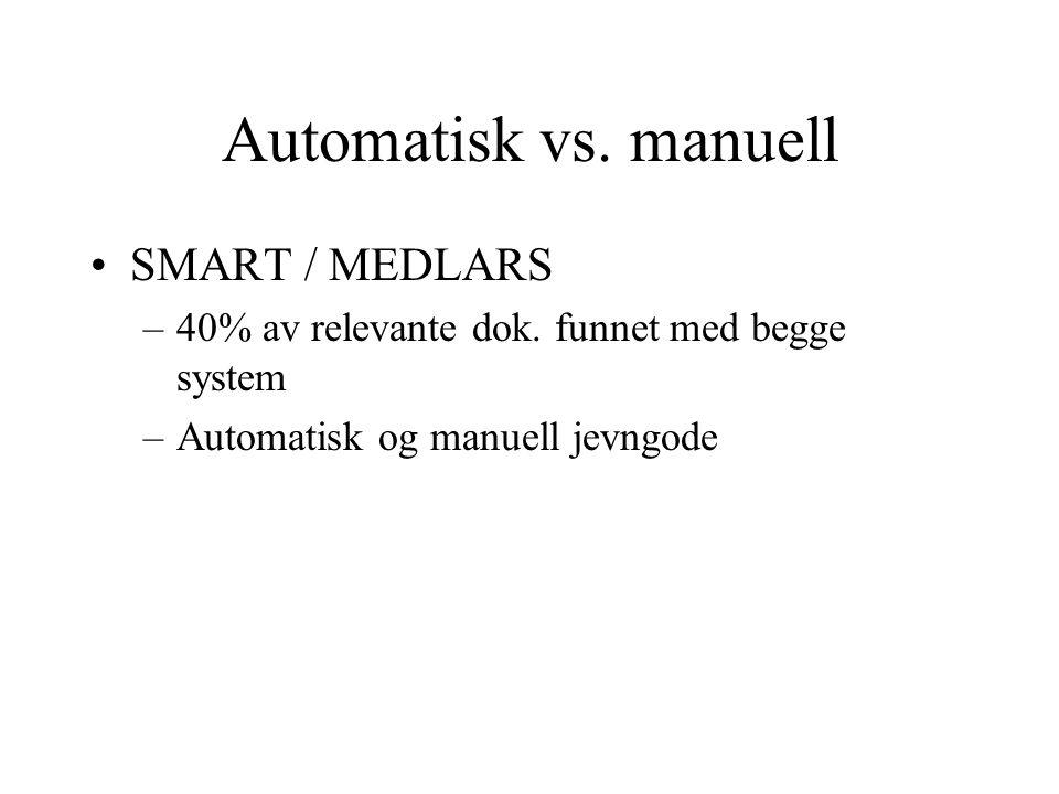 Automatisk vs. manuell SMART / MEDLARS