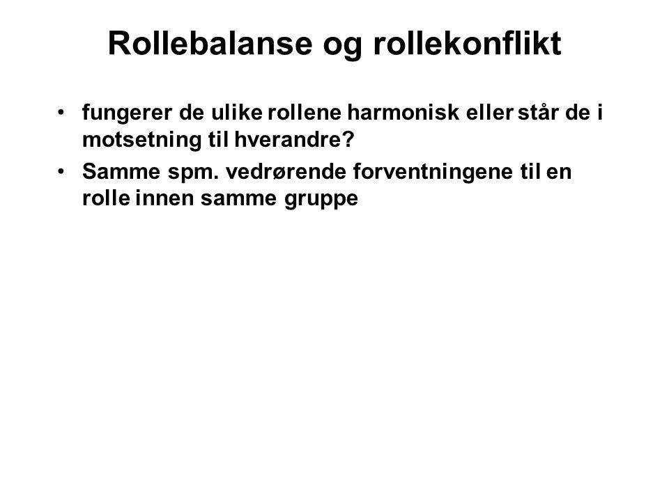Rollebalanse og rollekonflikt