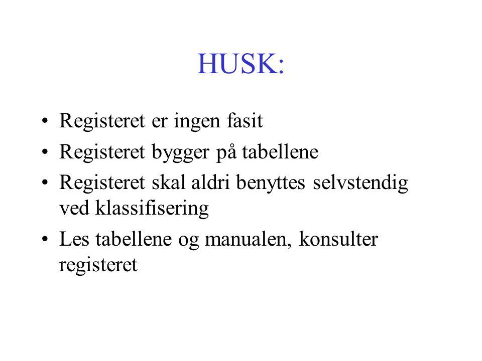 HUSK: Registeret er ingen fasit Registeret bygger på tabellene