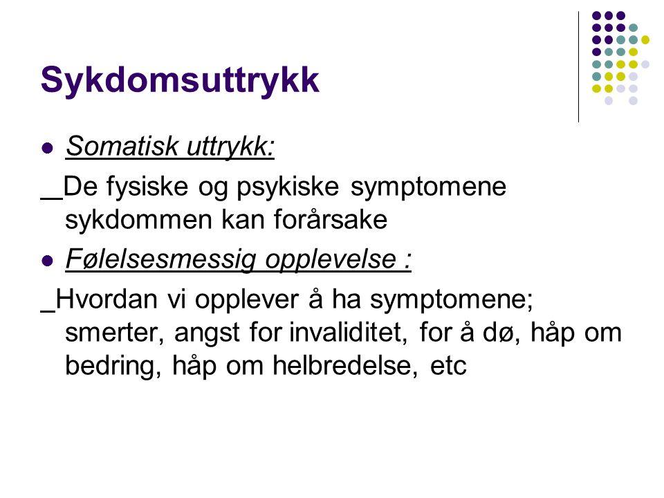 Sykdomsuttrykk Somatisk uttrykk: