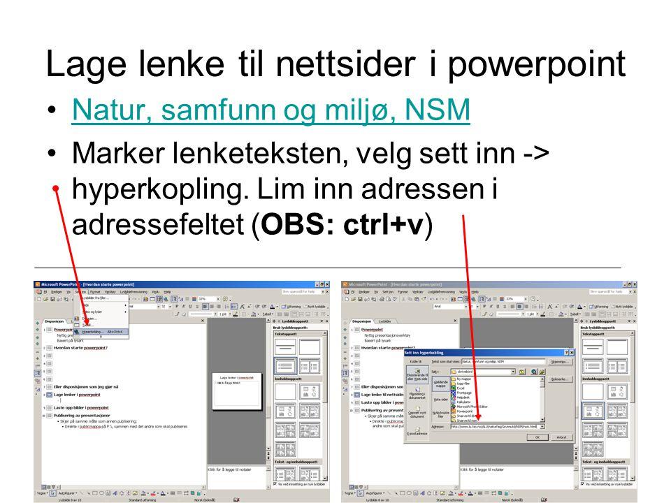 Lage lenke til nettsider i powerpoint