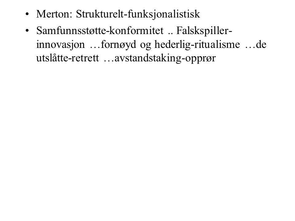 Merton: Strukturelt-funksjonalistisk