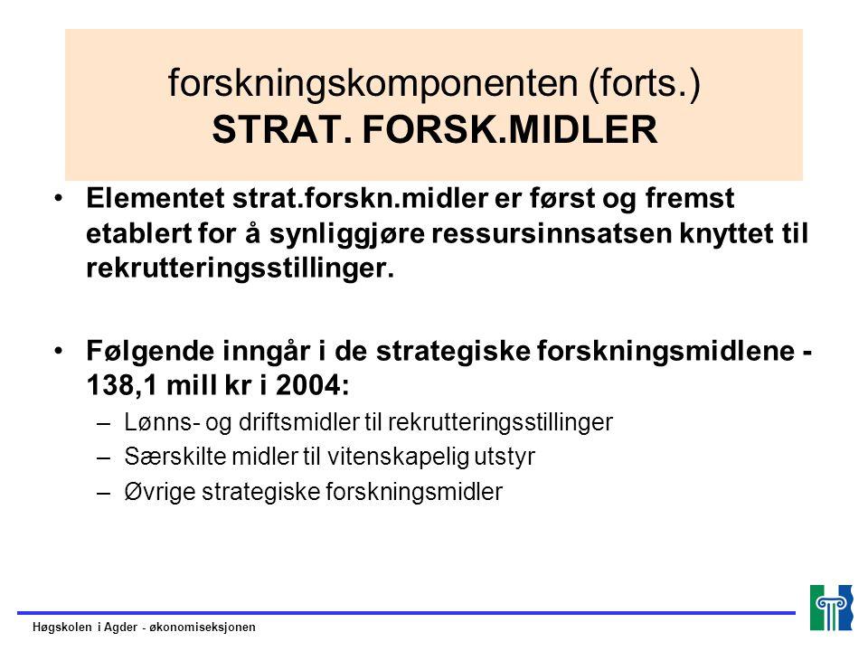 forskningskomponenten (forts.) STRAT. FORSK.MIDLER