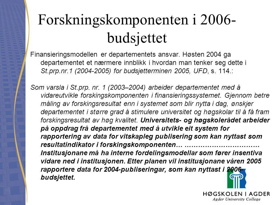 Forskningskomponenten i 2006-budsjettet