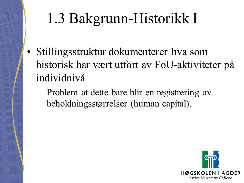 1.3 Bakgrunn-Historikk I Stillingsstruktur dokumenterer hva som historisk har vært utført av FoU-aktiviteter på individnivå.