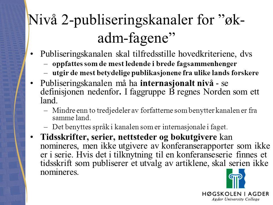 Nivå 2-publiseringskanaler for øk-adm-fagene