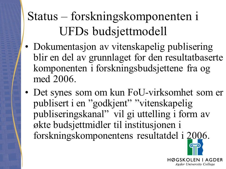 Status – forskningskomponenten i UFDs budsjettmodell