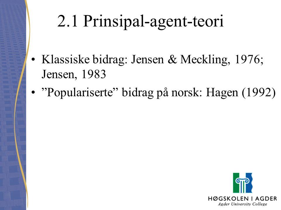 2.1 Prinsipal-agent-teori