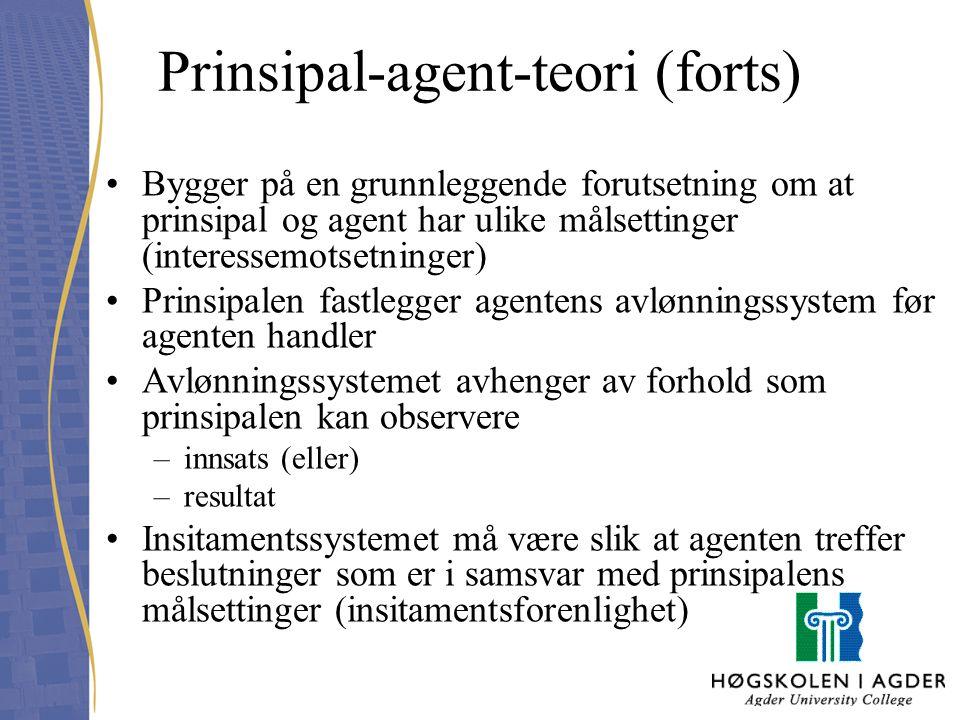 Prinsipal-agent-teori (forts)
