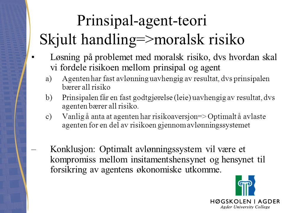 Prinsipal-agent-teori Skjult handling=>moralsk risiko