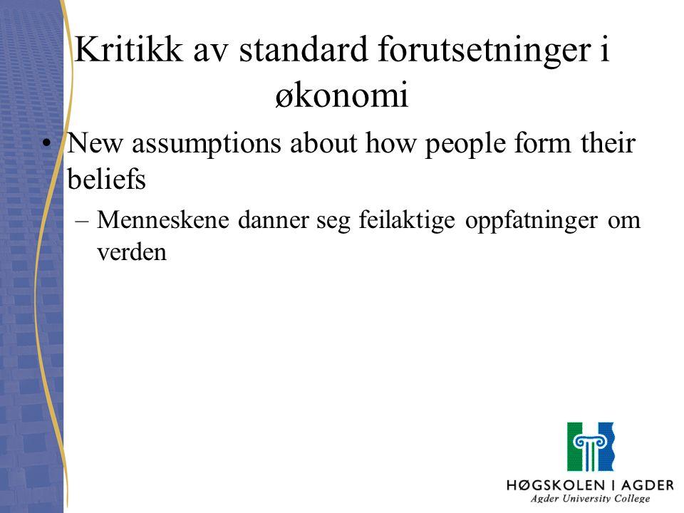Kritikk av standard forutsetninger i økonomi