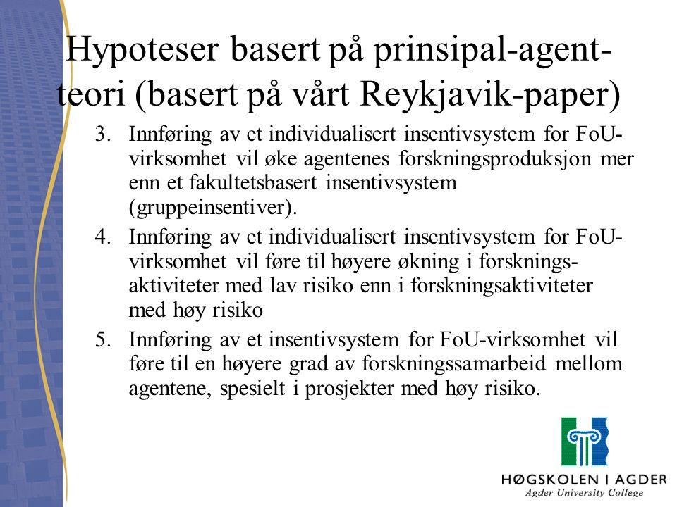 Hypoteser basert på prinsipal-agent-teori (basert på vårt Reykjavik-paper)