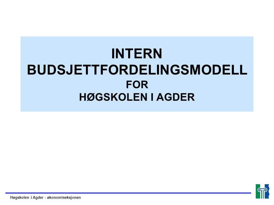 INTERN BUDSJETTFORDELINGSMODELL FOR HØGSKOLEN I AGDER