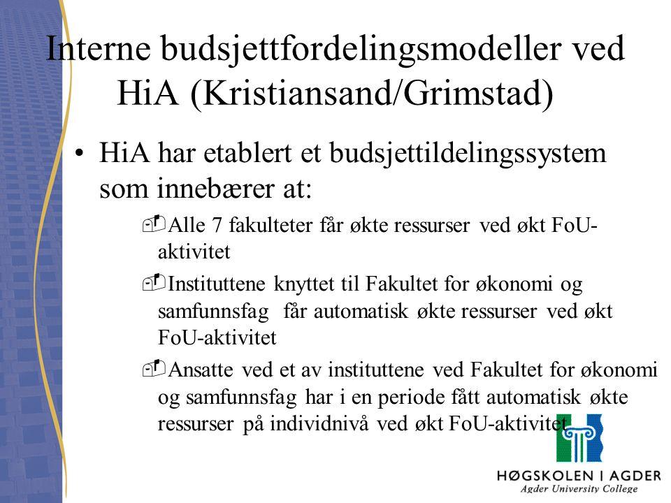 Interne budsjettfordelingsmodeller ved HiA (Kristiansand/Grimstad)