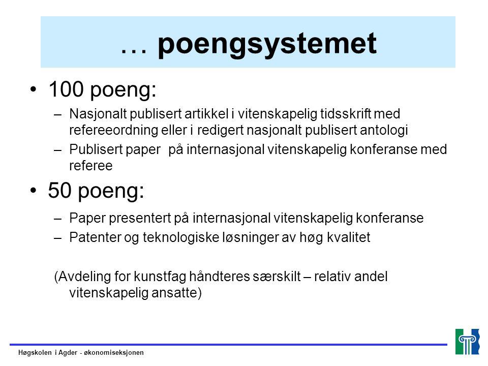 … poengsystemet 100 poeng: 50 poeng: