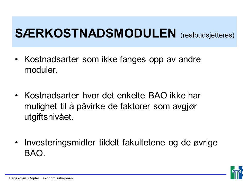 SÆRKOSTNADSMODULEN (realbudsjetteres)