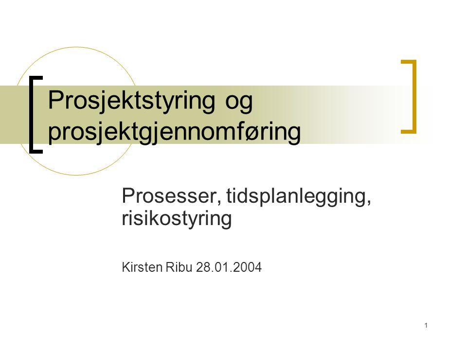 Prosjektstyring og prosjektgjennomføring