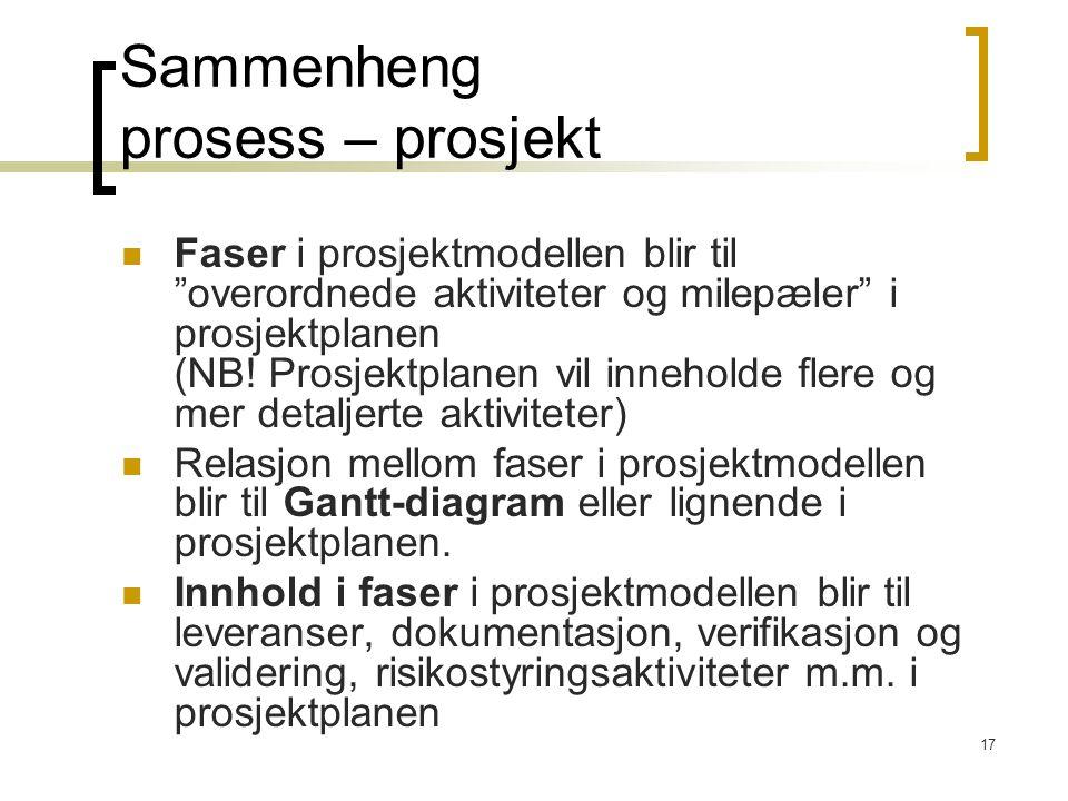 Sammenheng prosess – prosjekt