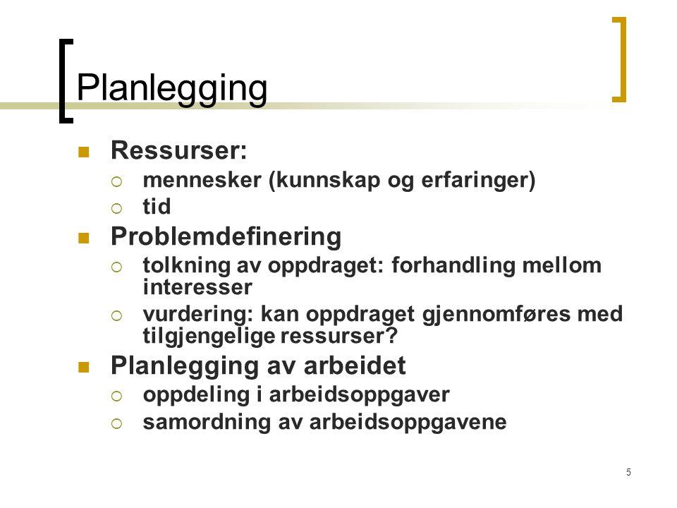 Planlegging Ressurser: Problemdefinering Planlegging av arbeidet
