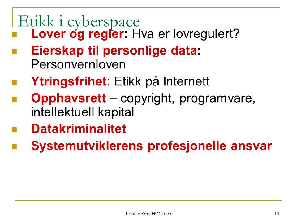 Etikk i cyberspace Lover og regler: Hva er lovregulert