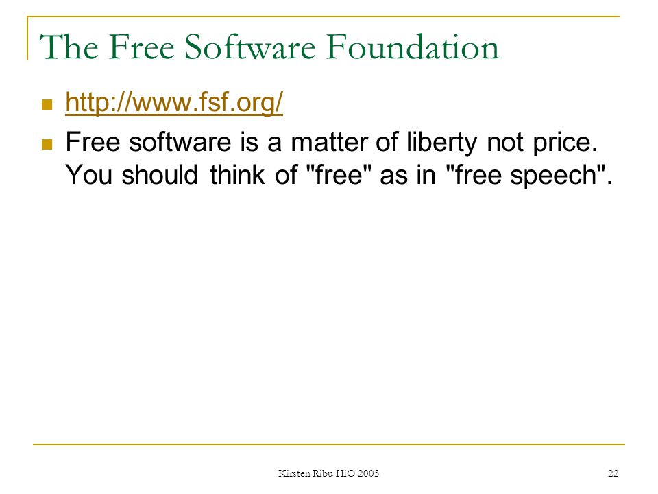 The Free Software Foundation