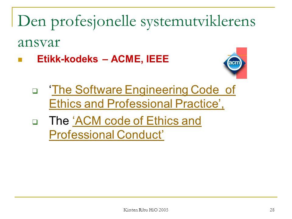 Den profesjonelle systemutviklerens ansvar