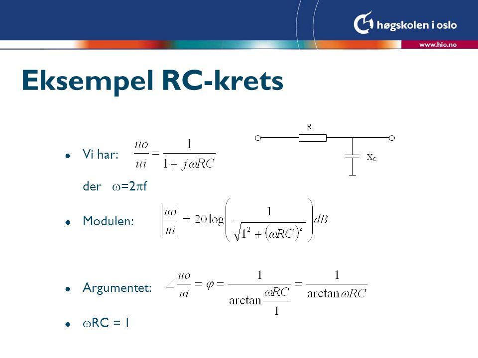 Eksempel RC-krets R XC Vi har: der =2f Modulen: Argumentet: RC = 1
