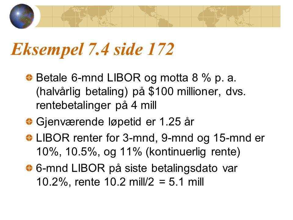 Eksempel 7.4 side 172 Betale 6-mnd LIBOR og motta 8 % p. a. (halvårlig betaling) på $100 millioner, dvs. rentebetalinger på 4 mill.