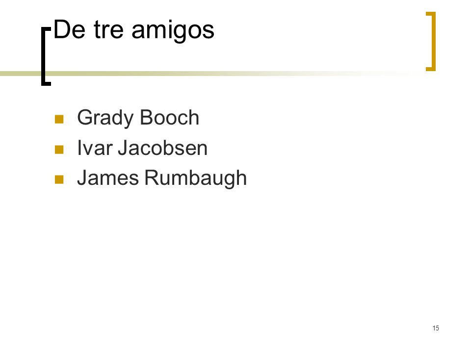 De tre amigos Grady Booch Ivar Jacobsen James Rumbaugh