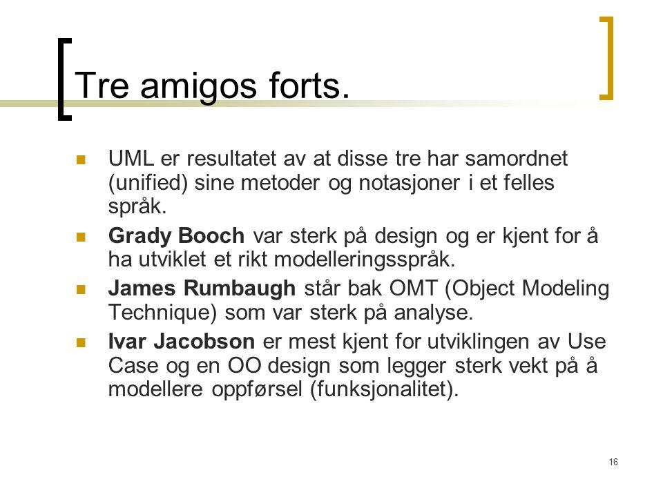 Tre amigos forts. UML er resultatet av at disse tre har samordnet (unified) sine metoder og notasjoner i et felles språk.