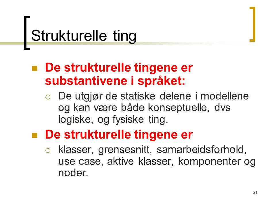 Strukturelle ting De strukturelle tingene er substantivene i språket:
