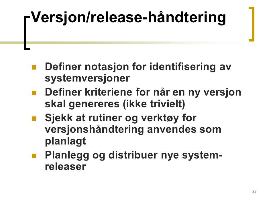 Versjon/release-håndtering