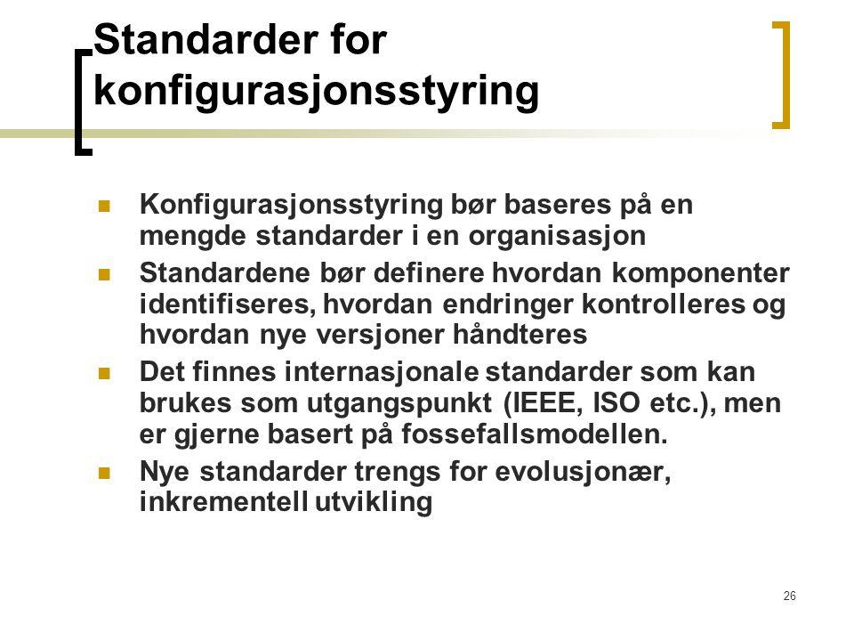 Standarder for konfigurasjonsstyring
