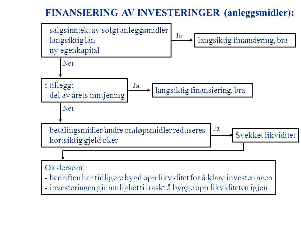 FINANSIERING AV INVESTERINGER (anleggsmidler):