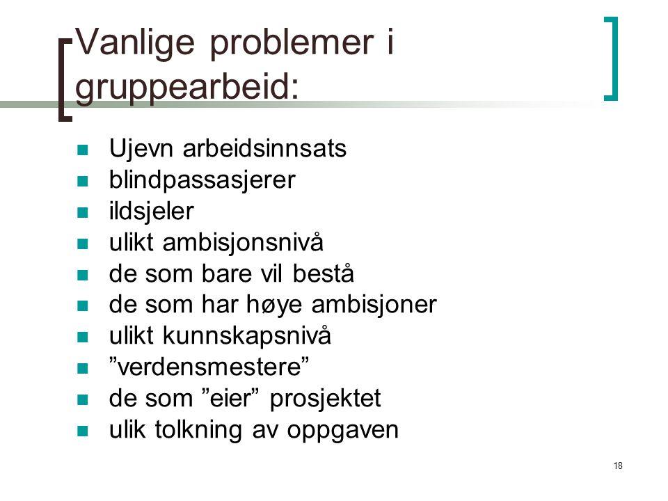 Vanlige problemer i gruppearbeid: