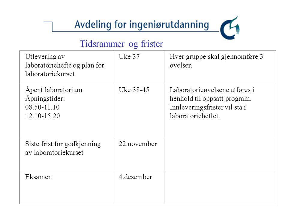 Tidsrammer og frister Utlevering av laboratoriehefte og plan for laboratoriekurset. Uke 37. Hver gruppe skal gjennomføre 3 øvelser.